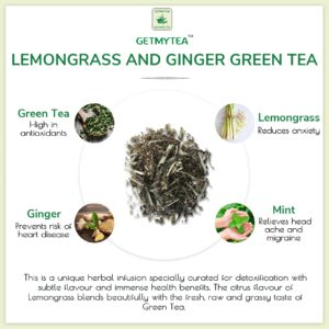 Lemongrass and Ginger Green Tea Can | Pyramid bags - (Set of 20 Bags x 2g each=40g)