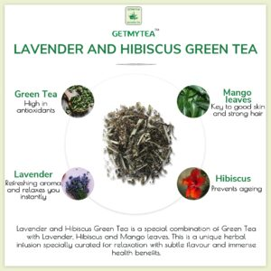 Lavender and Hibiscus Green Tea Can | Pyramid bags (Set of 20 Bags x 2g each=40g)